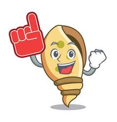 Foam finger sea shell mascot cartoon vector