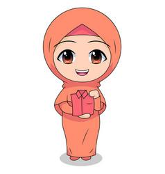 Folding clothes cute muslim children cartoon vector