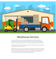 forklift unloads boxes from a truck vector image
