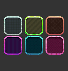 Funny cartoon colorful square frames for app icons vector