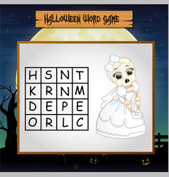 Game halloween find the word of skeleton vector