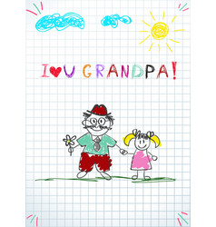 Granddad and grandchild together holding hands vector