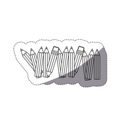 Grayscale contour sticker with pencils row with vector
