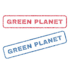 Green planet textile stamps vector