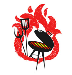 grill and red fire design vector image