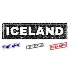 Grunge iceland scratched rectangle stamp seals vector