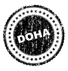 Grunge textured doha stamp seal vector