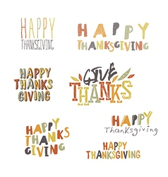 Happy Thanksgiving logotypes set vector image