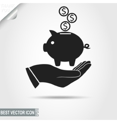 Higgy Bank with coins on the human Hand - vector image
