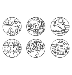 icons set with urban and nature landscapes vector image
