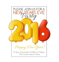 Invitation to New Years party with balloons vector