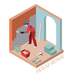 Isometric interior repairs concept builder is vector