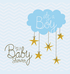 Its a boy text with cloud stars design vector