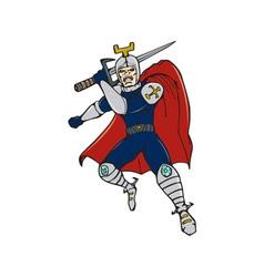 Knight Brandishing Sword Cartoon vector