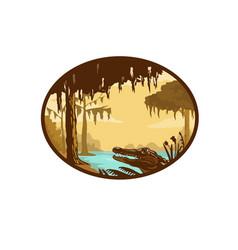 Louisiana bayou and alligator oval wpa retro vector