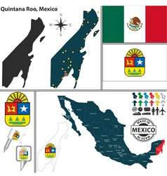 Map of Quintana Roo vector