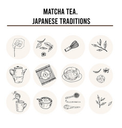 matcha tea japanese traditions menu doodle icons vector image