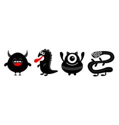 Monster black silhouette set line dino snake vector