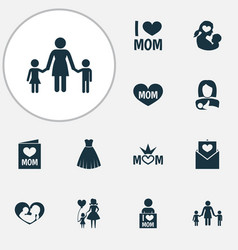 mothers day icon design concept set of 12 such vector image