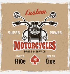 motorcycle front view vintage poster sample text vector image