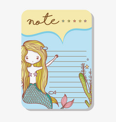 Note with mermaid cartoons vector