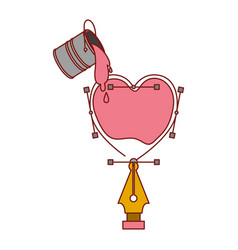 paint bucket over heart design with fountain pen vector image