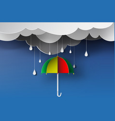 paper art of colorful umbrella with rainy vector image