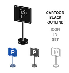 parking sign icon in cartoon style isolated on vector image