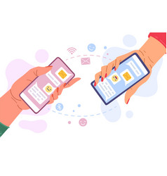 phone messages communication hands holding phone vector image