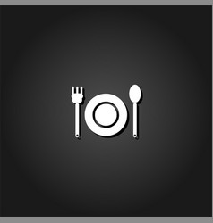 plate with fork and spoon icon flat vector image