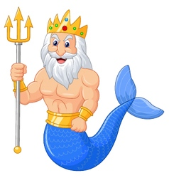 Poseidon cartoon vector