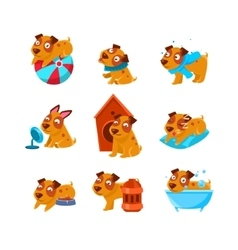 Puppy Everyday Activities Set vector