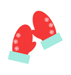 red mittens snowflakes on mittens vector image