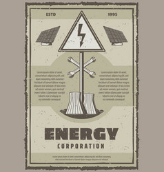 Retro poster of energy power or electricity vector