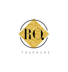 Ro letter logo with golden foil texture vector