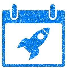 Rocket Calendar Day Grainy Texture Icon vector