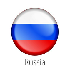 russia round button flag vector image