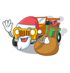 Santa with gift jeep cartoon car in front clemency vector