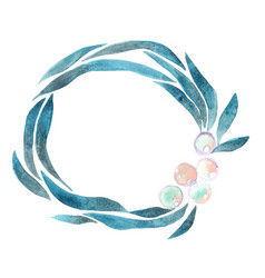 Seaweed and pearl wreath frame watercolor vector