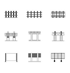 Set black and white fence different icon vector