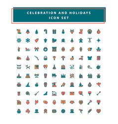 set celebration and holidays icon set vector image