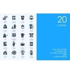 Set of blue hamster library coffee icons vector