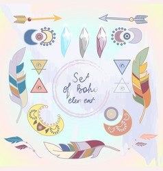 Set of colored boho style elements vector