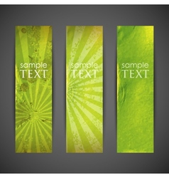 set of green banners with grunge cardboard texture vector image