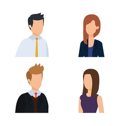Set professional businesspeople with hairstyle and vector