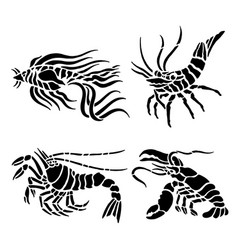 shrimp seafood water animal food black vector image