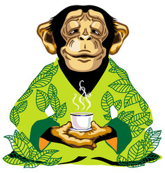 Sitting chimp in green kimono holding cup tea vector