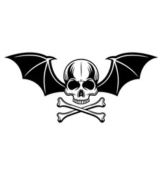 Skull with bat wings and two crossed bones vector