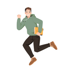Smiling guy in hoodie with book jumps fist up vector