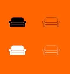 sofa black and white set icon vector image
